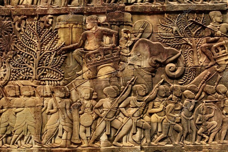 Фрагмент-стены-в-храме-байон-800x533